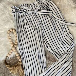 White & black striped high waisted pants